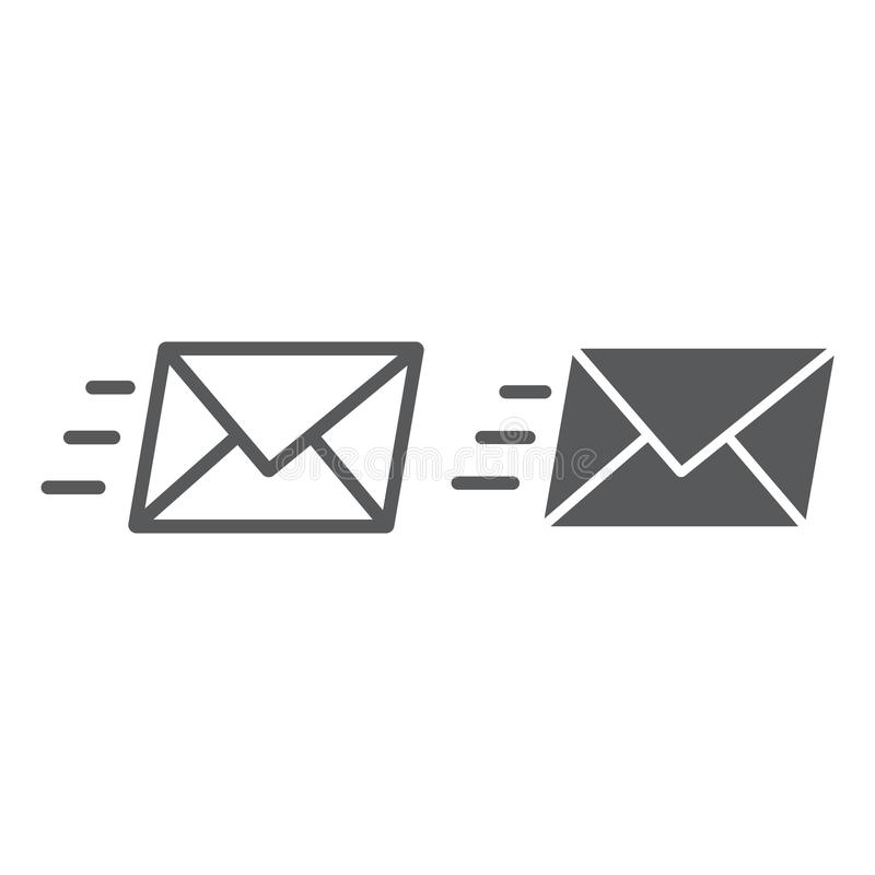 Email line and glyph icon, business and address royalty free illustration