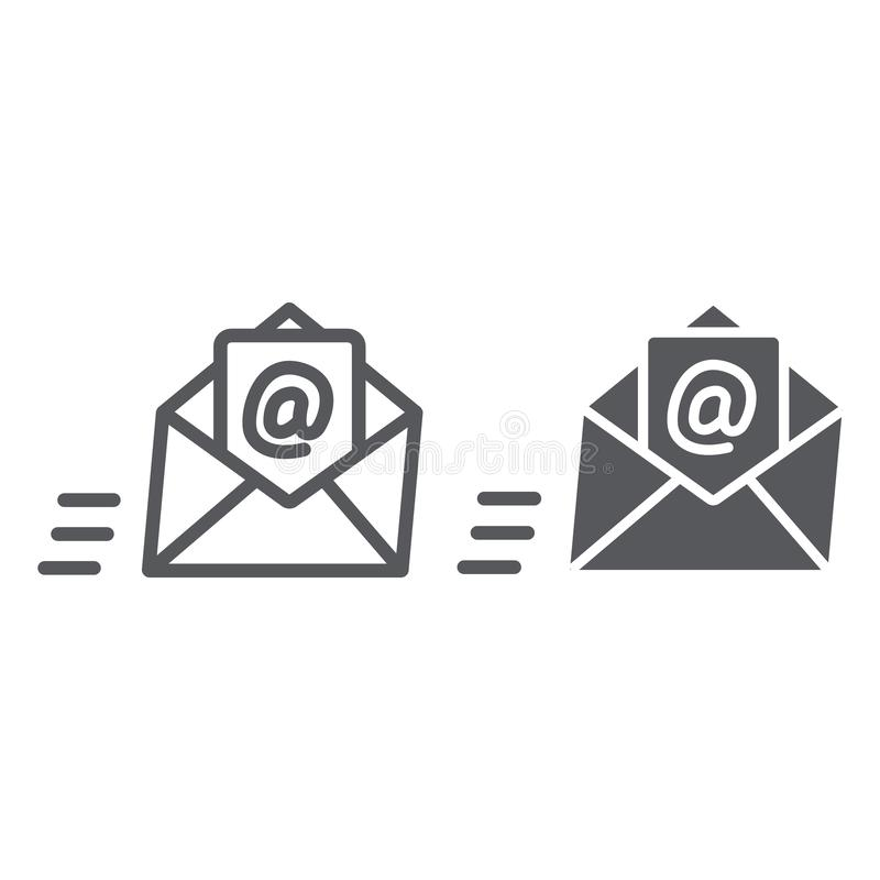 Email line and glyph icon, mail and letter, mail envelope sign, vector graphics, a linear pattern on a white background. Email line and glyph icon, mail and royalty free illustration