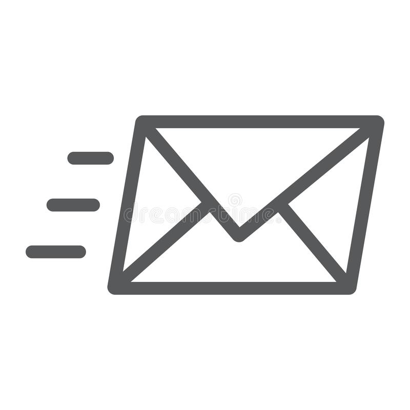 Email line icon, business and address, message royalty free illustration