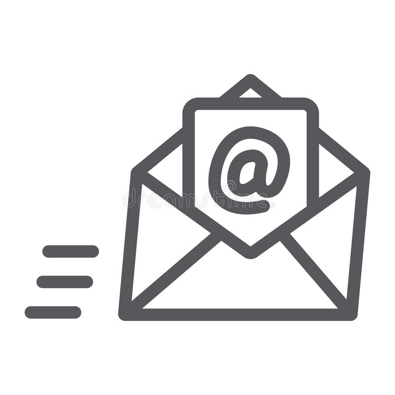 Email line icon, mail and letter, mail envelope sign, vector graphics, a linear pattern on a white background. Email line icon, mail and letter, mail envelope royalty free illustration