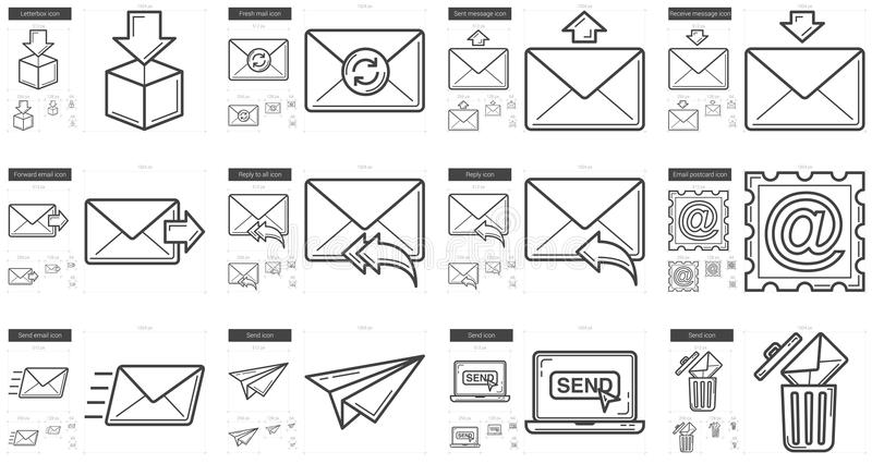 Email line icon set. royalty free illustration