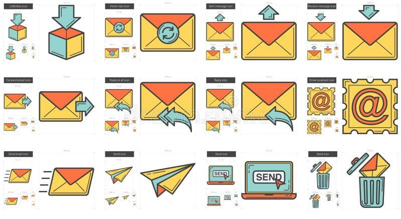 Email line icon set. stock illustration