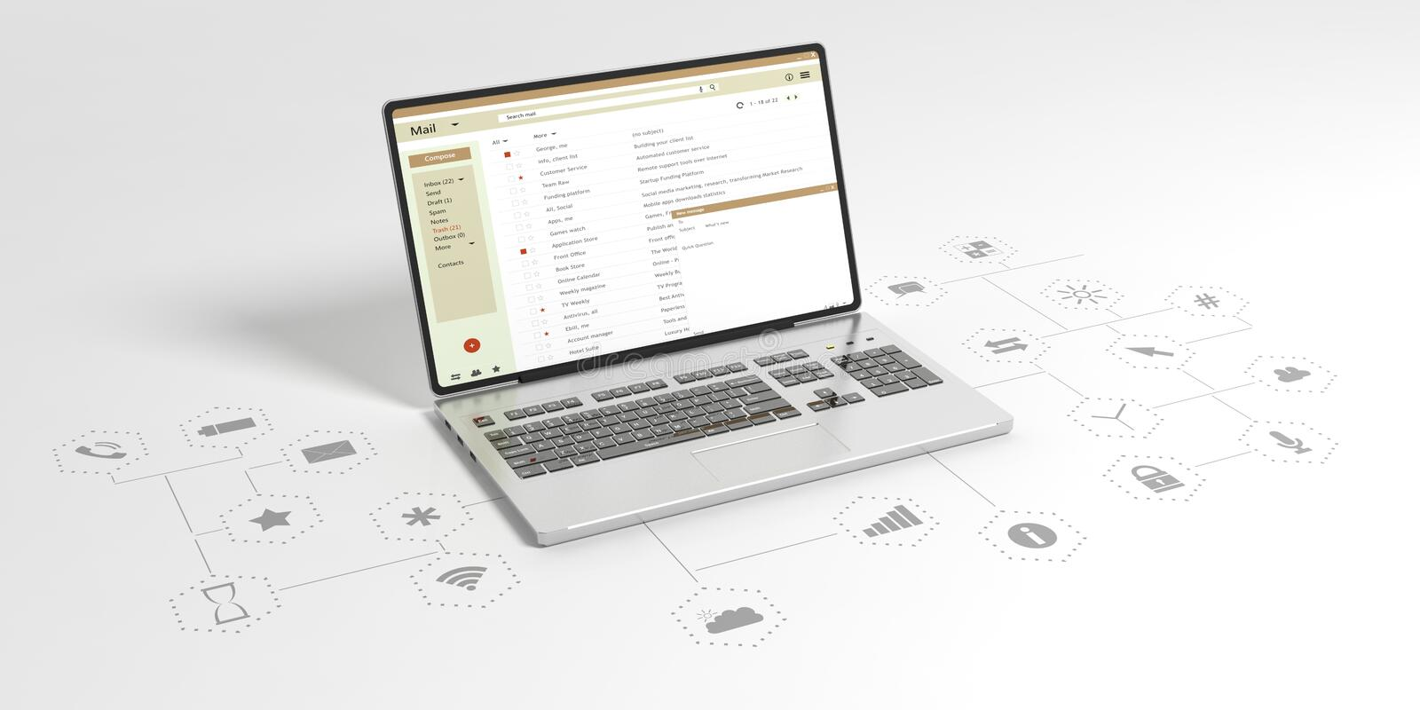 Email list on a computer laptop screen, white background with app icons. 3d illustration vector illustration