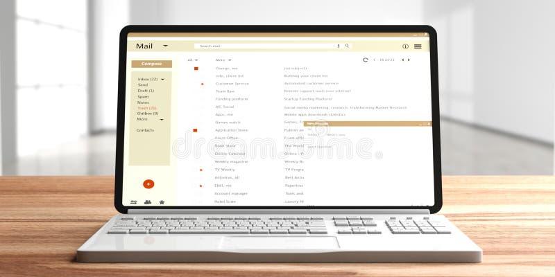 Email lista na komputerowym laptopu ekranie, drewniany biurowy biurko, pusty izbowy tło ilustracji