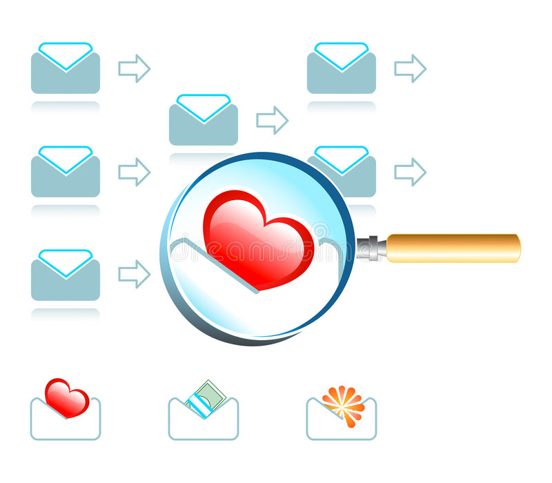 Download Email magnifier stock vector. Illustration of mail, discover - 4333431