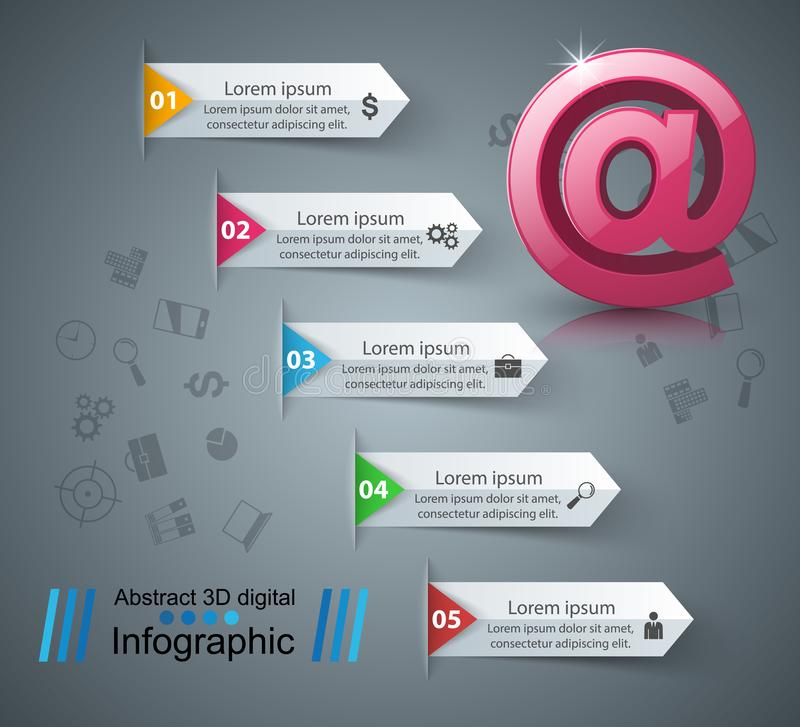 Email and mail icon. Abstract 3D Infographic. royalty free illustration