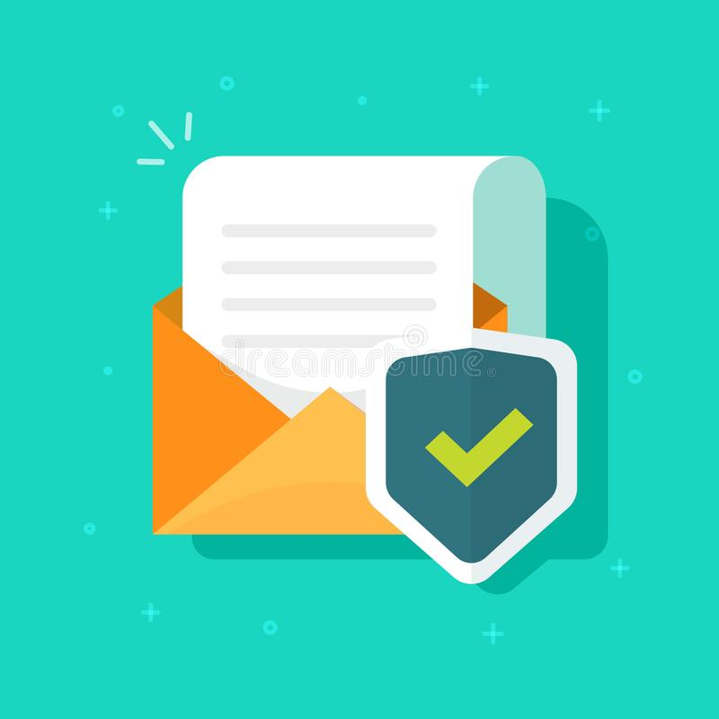 Email or mail protected and shield vector icon, flat cartoon open envelope document page secure protection concept, idea royalty free illustration