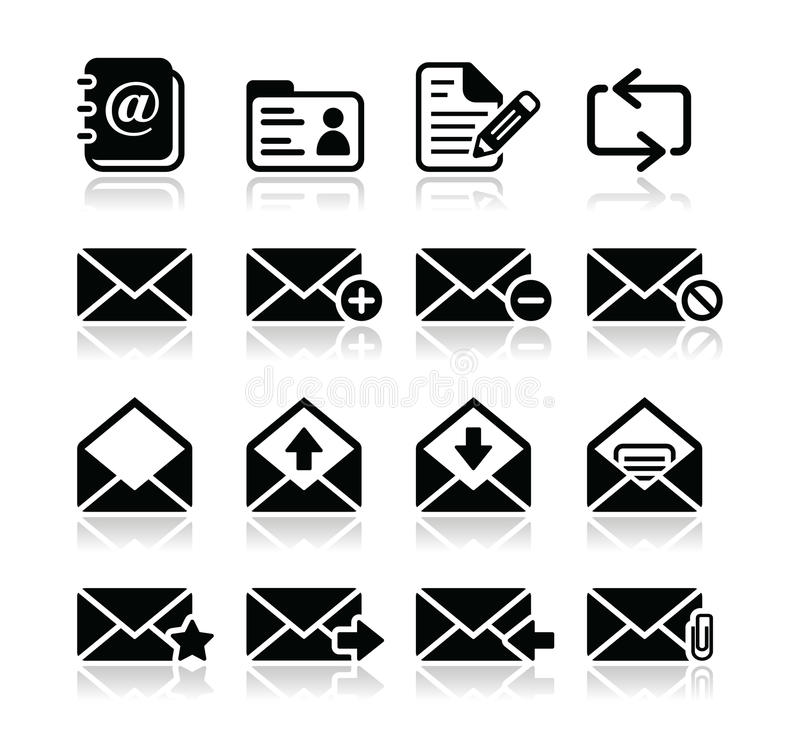 Download Email mailbox  icons set stock illustration. Image of receive - 27690726