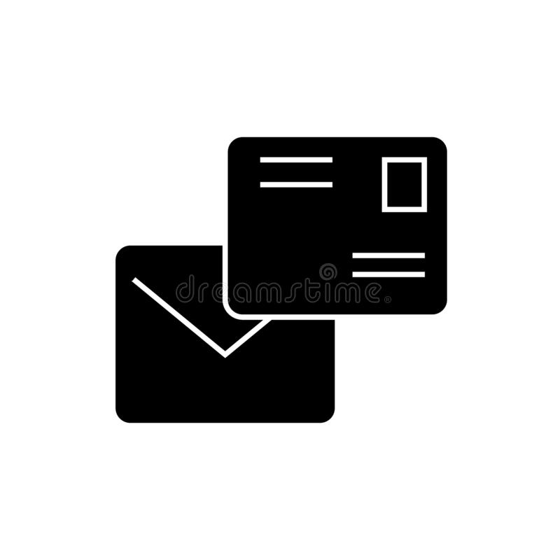 Email mailing black vector concept icon. Email mailing flat illustration, sign royalty free illustration