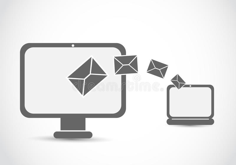Email mailing computer. Abstract background vector illustration