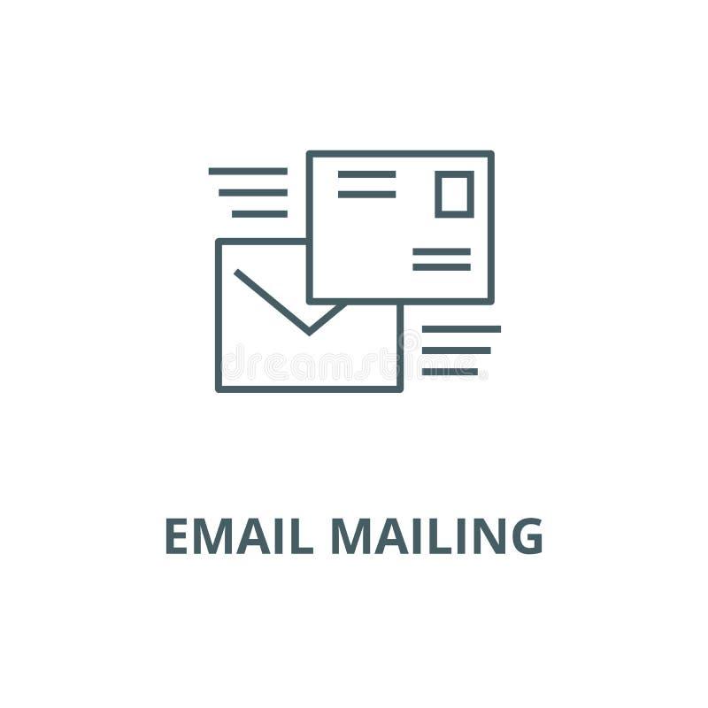Email mailing line icon, vector. Email mailing outline sign, concept symbol, flat illustration. Email mailing line icon, vector. Email mailing outline sign royalty free illustration