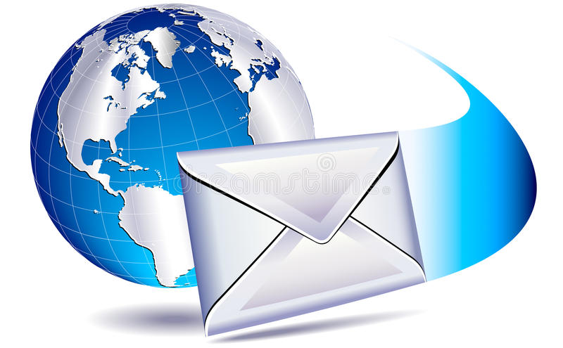 Email mailing the world. Email sent and arriving with a whoosh
