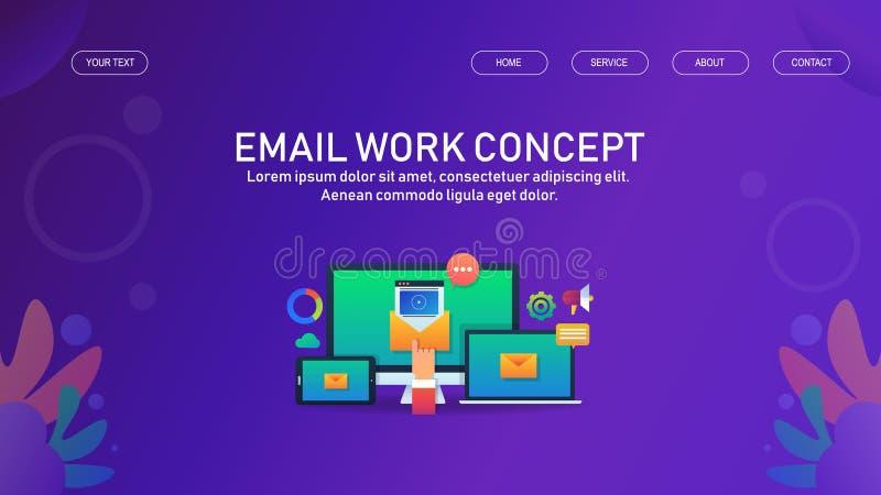 Email management, newsletter marketing and promotion, digital media advertising concept, web banner template. Modern concept of email marketing and management stock illustration