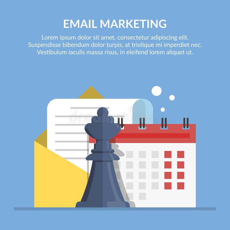Email marketing. Advertising mailing by mail. Concept illustration with a picture of document in an envelope, calendar vector illustration