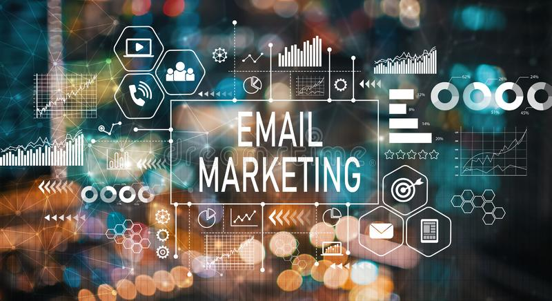 Email marketing with blurred city lights. Email marketing with blurred city abstract lights background royalty free illustration