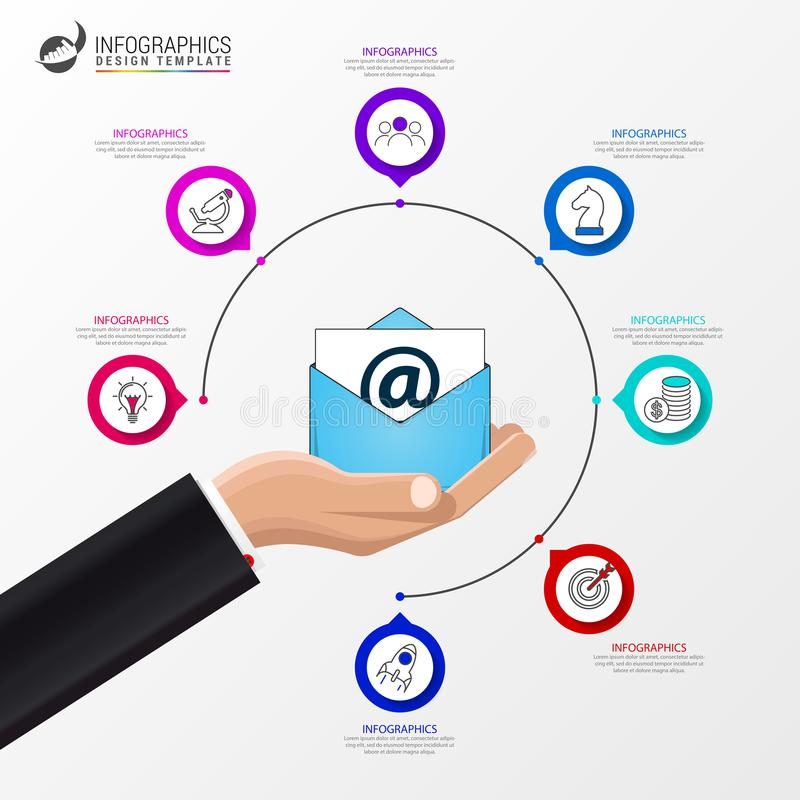 Email marketing. Business concept with 7 steps. Infographics vector illustration