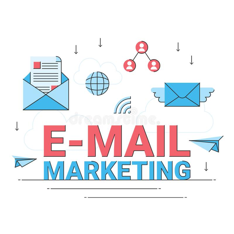 Email marketing business online, internet commercial promotion flat design. Email marketing business online, internet commercial promotion advertising flat vector illustration