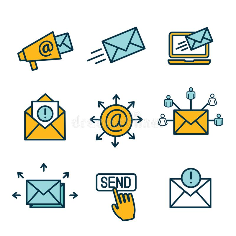 Email marketing campaigns icon set with email list, announcement, send button vector illustration