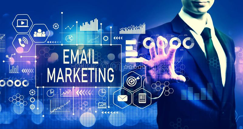 Email marketing concept with businessman royalty free stock photo