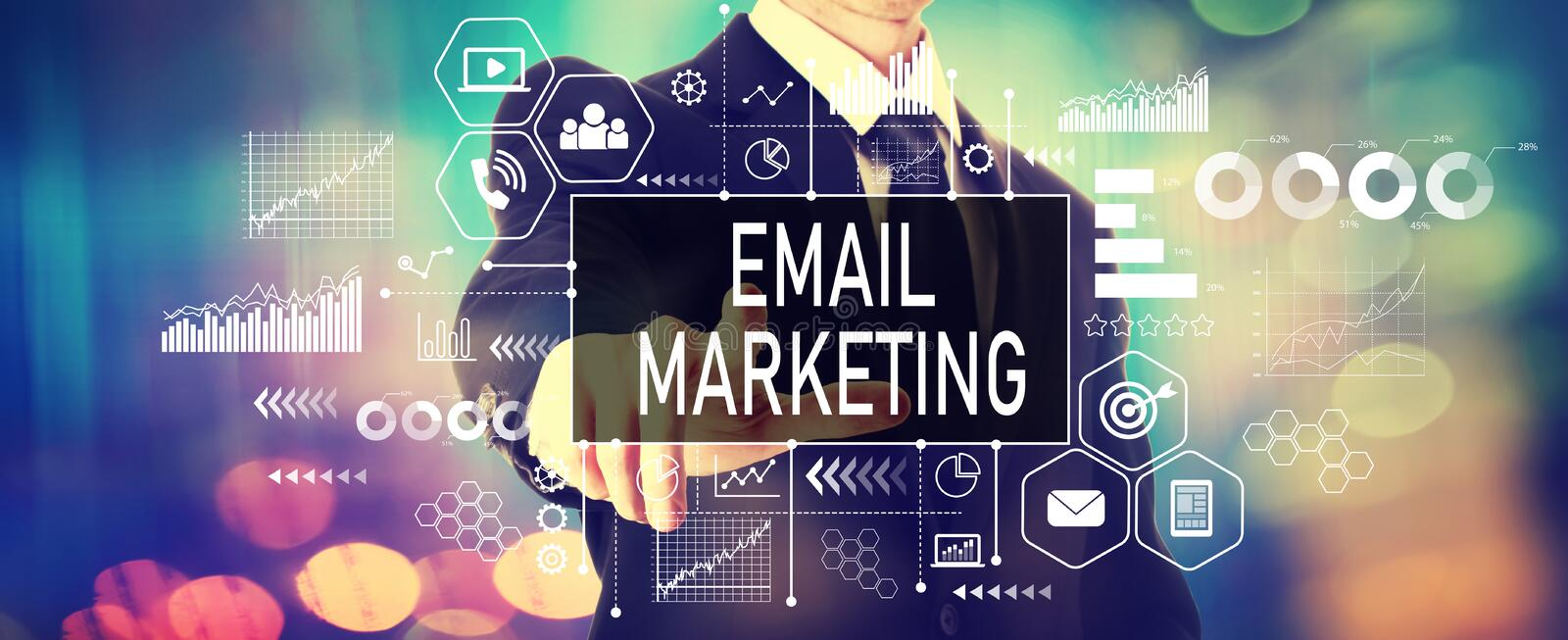 Email marketing concept with a businessman stock image