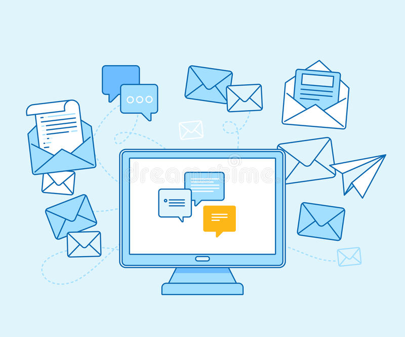 Email marketing concept - computer with mailing app vector illustration
