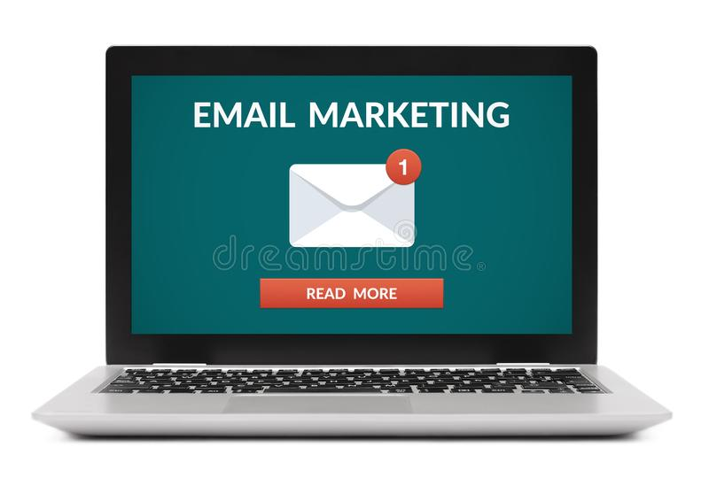 Email marketing concept on laptop computer screen. Isolated on white background. All screen content is designed by me royalty free stock photography