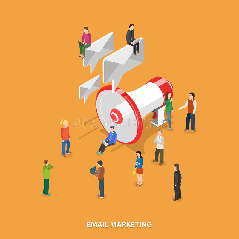 Email Marketing Flat Isometric Vector Concept. stock illustration
