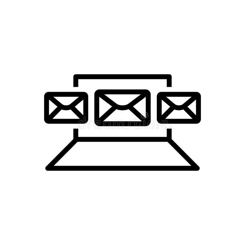 Black line icon for Email, Marketing and social stock illustration