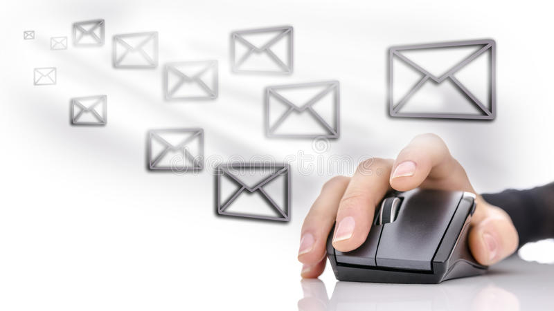 Email marketing. Email icons around female hand using computer mouse. Email marketing concept