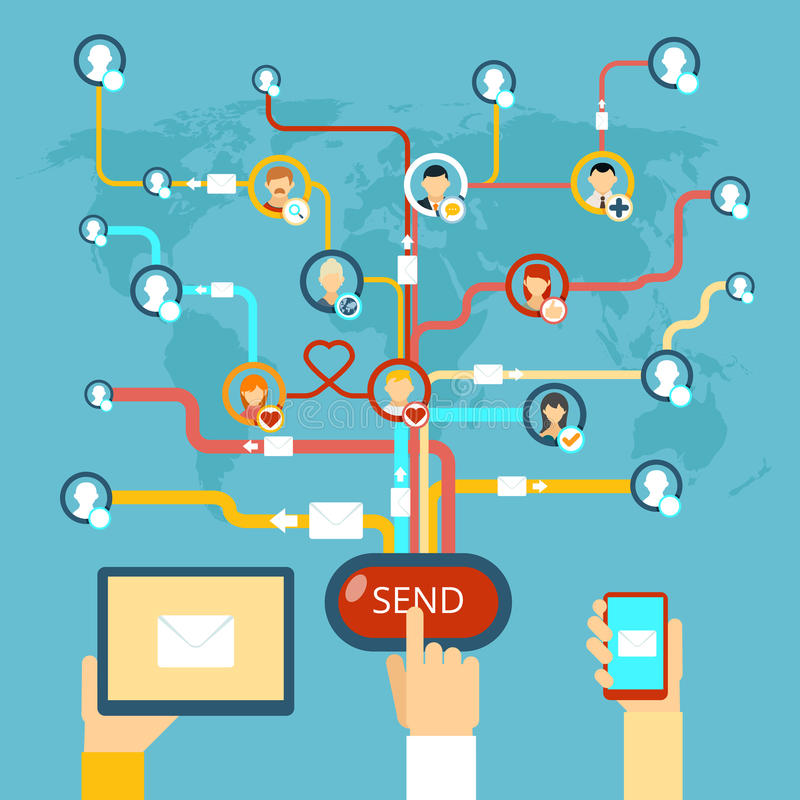 Download Email marketing stock vector. Image of email, connection - 52482631