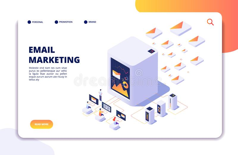 Email marketing isometric concept. Mail automation strategy. Email outbound campaign, message marketing vector landing vector illustration