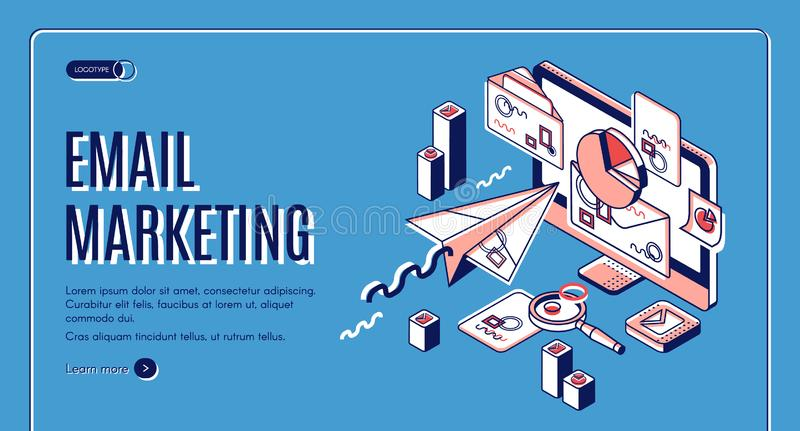 Email marketing landing page, spammer services stock illustration