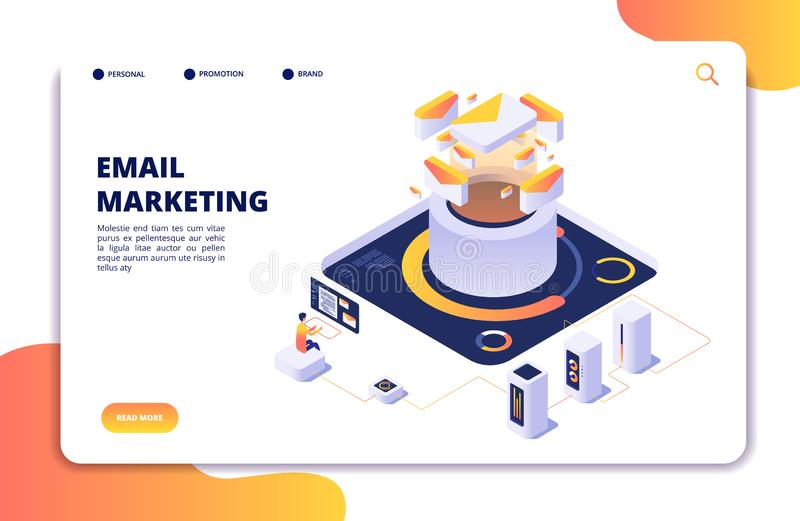 Email marketing. Mail automation strategy. Email outbound newsletter campaign, mailing spammer services isometric vector stock illustration