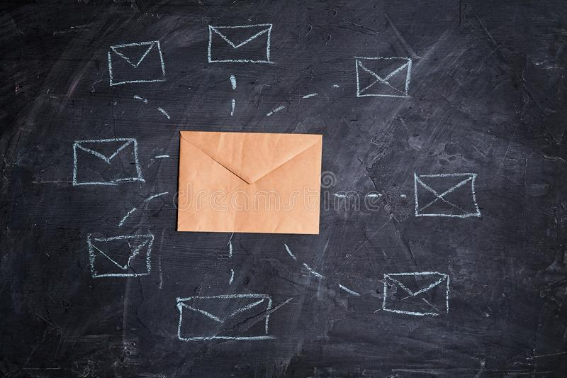 Email marketing, message online, mail communication and e-commerce concept: envelope and network of symbols envelopes royalty free stock images