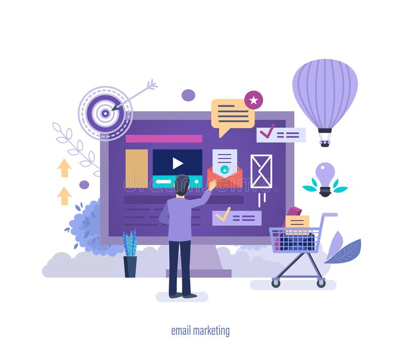 Email marketing. Electronic advertising mailing, digital marketing, social networks. Email marketing. News letter email advertising, information dissemination stock illustration