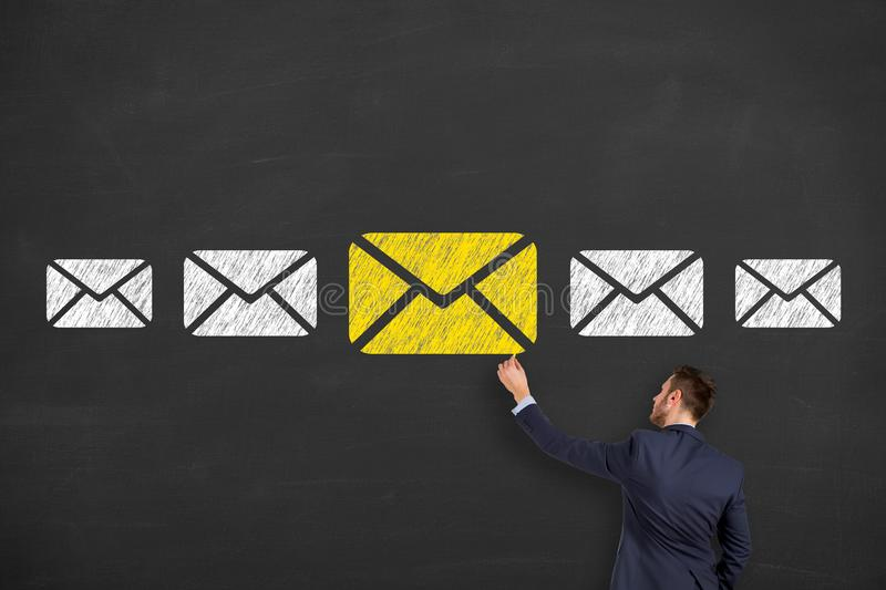 Email marketing newsletter and bulk mail concepts on Blackboard royalty free stock photography