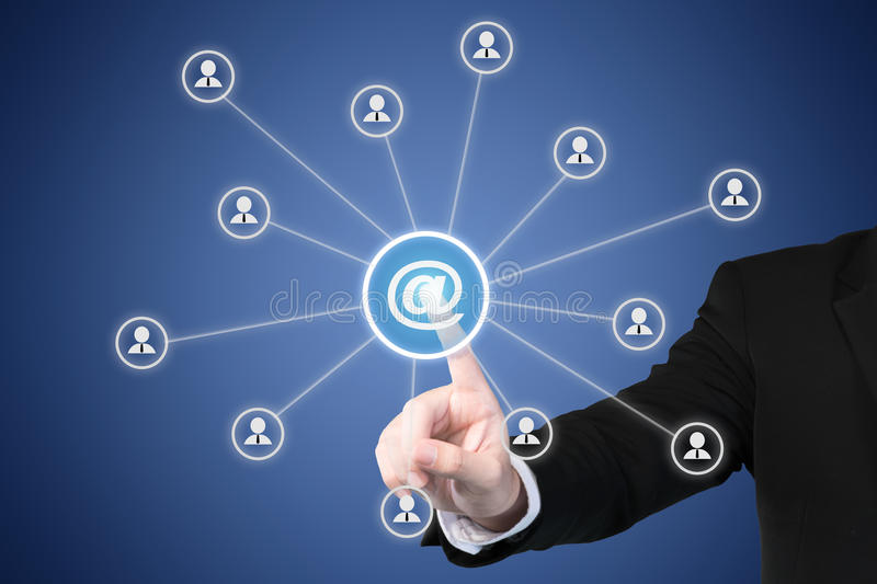 Email marketing, newsletter and bulk mail concepts. Businessman stock image