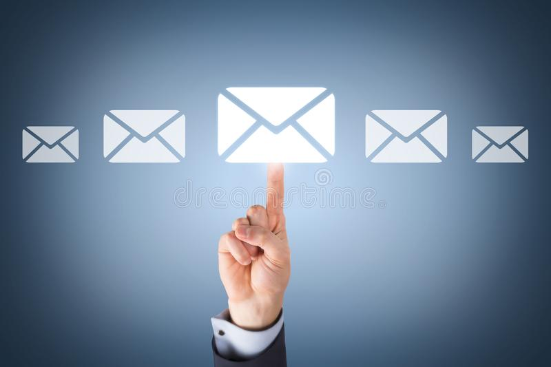 Email marketing newsletter and bulk mail concepts stock images