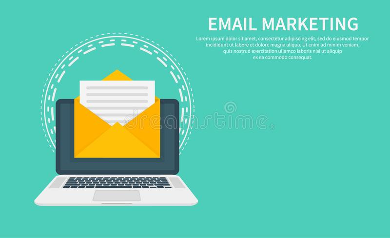 Email marketing, newsletter marketing, email subscription and drip campaign with icon. Flat design, vector illustration vector illustration