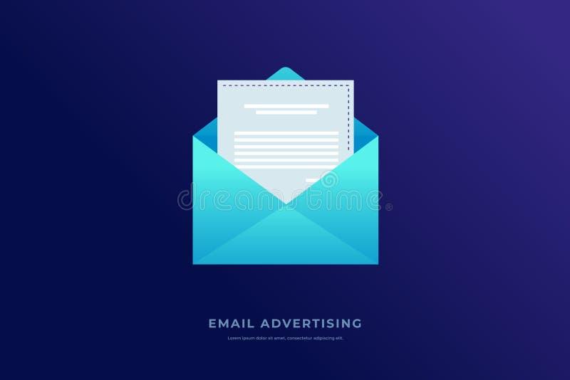 Email marketing. Open envelope on blue background. Information dissemination. Notification concept. Vector illustration royalty free illustration