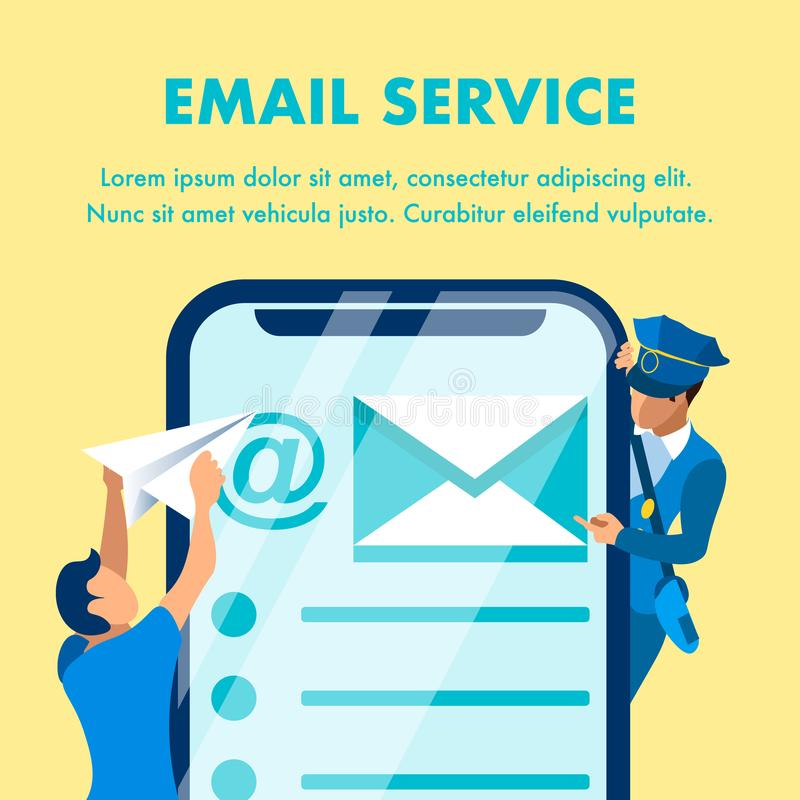 Email Marketing Service Banner Vector Template royalty free illustration