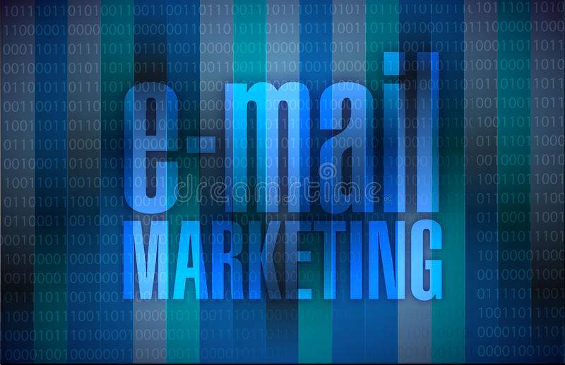 Email marketing sign over a binary background royalty free illustration