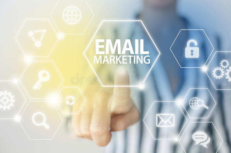 Email Marketing. Strategy business concept with businesswoman stock photo