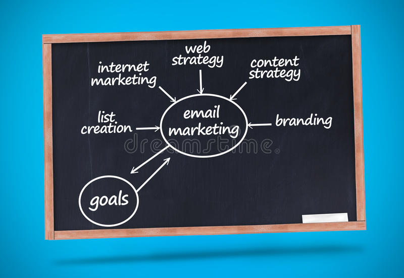 Email marketing terms written with a chalk on blackboard. Against blue background stock illustration