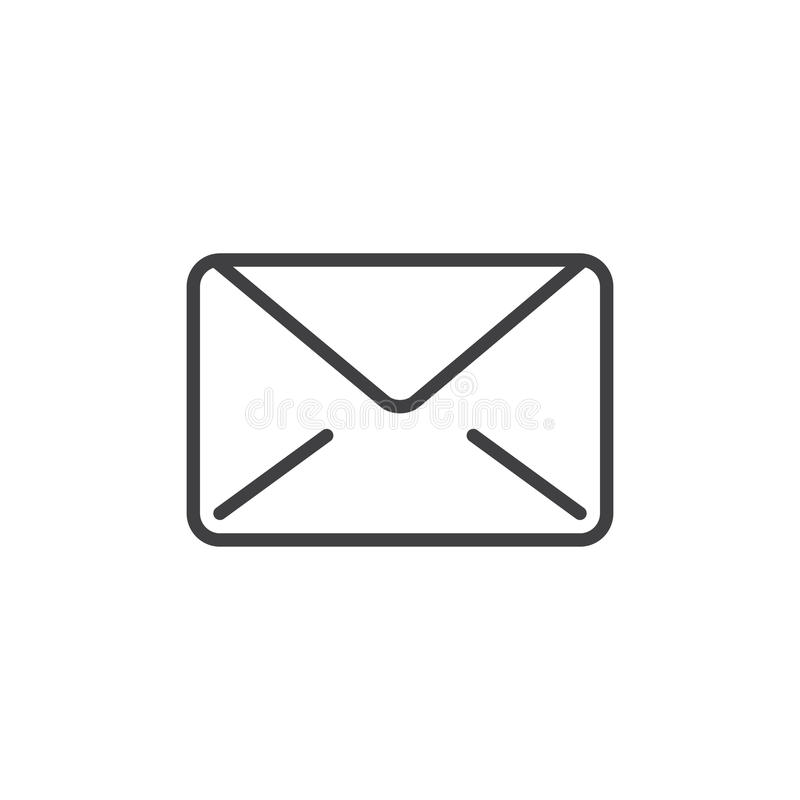 Email meddelandelinje symbol, översiktsvektortecken, linjär stilpictogram som isoleras på vit stock illustrationer