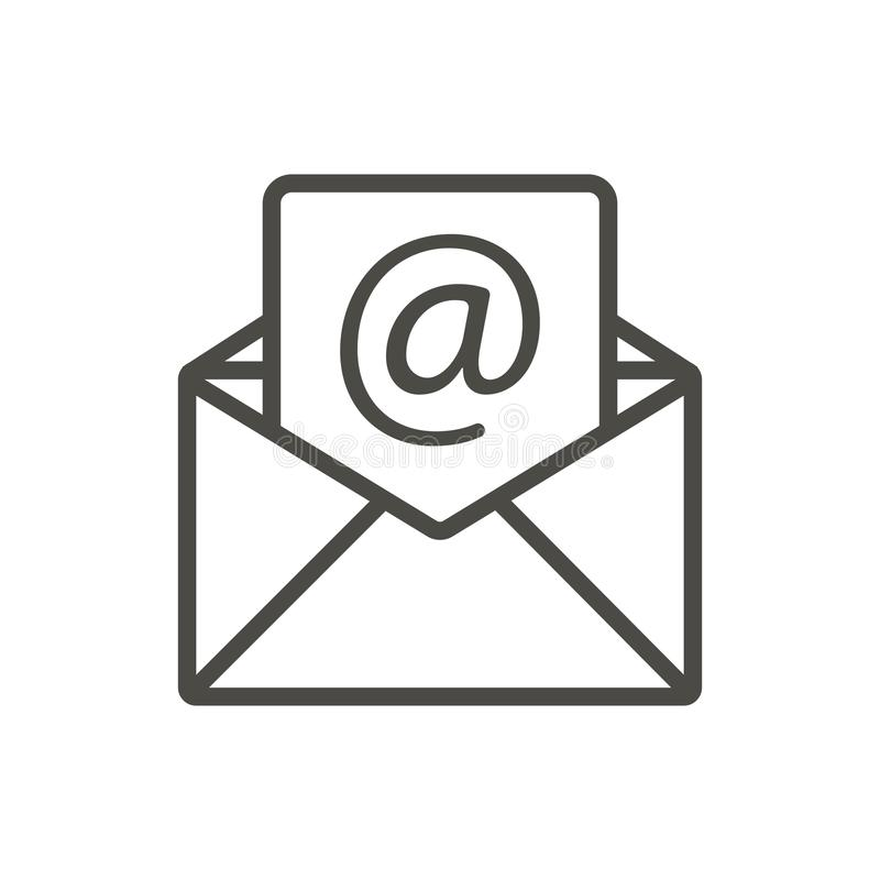 Email message icon vector. Line open mail symbol. stock illustration