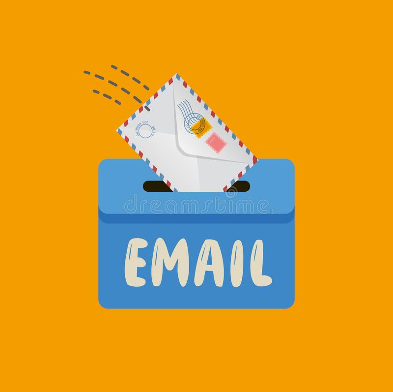 Email, message symbol. Mail envelope drops in the mailbox vector stock illustration