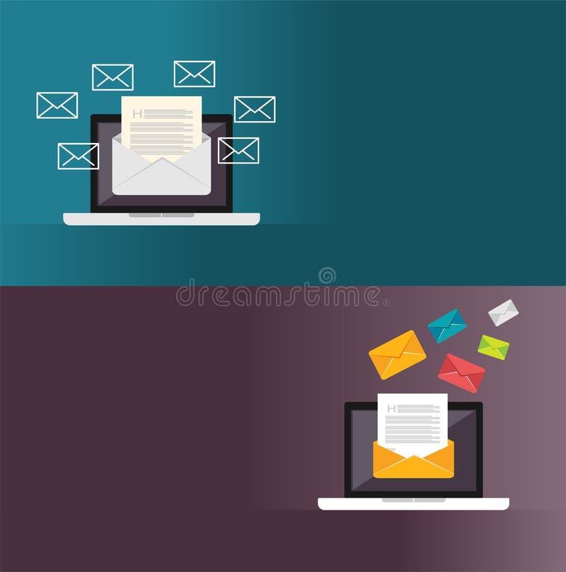 Email Messages. Email marketing. illustration for web banner , web element, or infographics element.  stock illustration