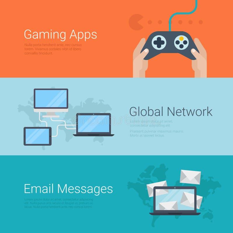 Email network gaming apps website slider banner flat vector. Flat style website slider banner gaming apps gamification global network email message concept web stock illustration
