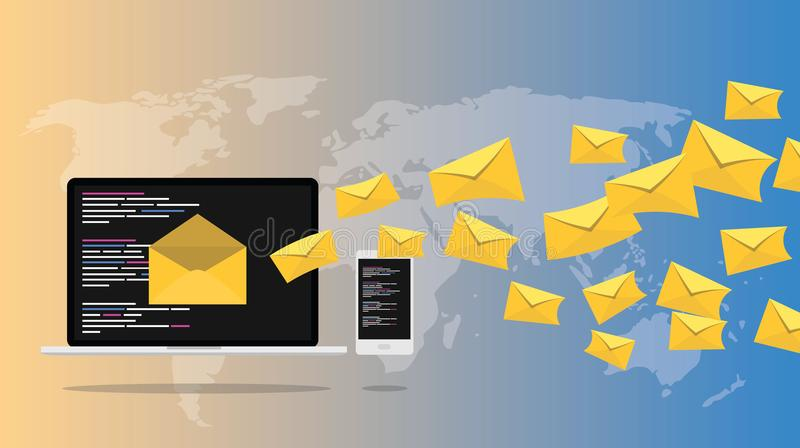 Email newsletter spread hacking scam with world map as background royalty free illustration